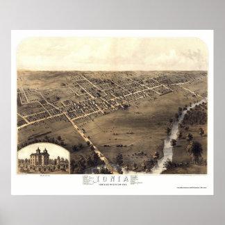Jonia, mapa panorámico del MI - 1868 Poster