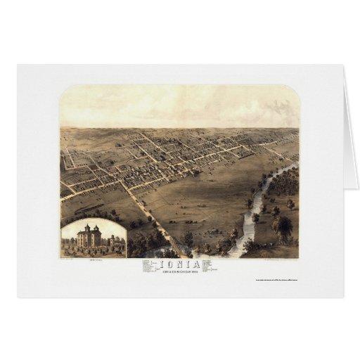 Jonia, mapa panorámico del MI - 1868 Felicitaciones