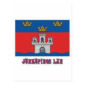 Jönköpings län flag with name postcard