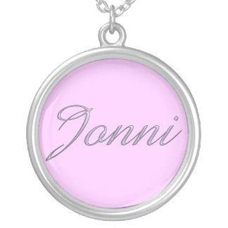JONNI Logo Round Sterling Silver Plate Necklace