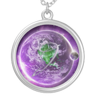 """JONNI """"Touch The World"""" Sterling Silver-Plated Nec Round Pendant Necklace"""