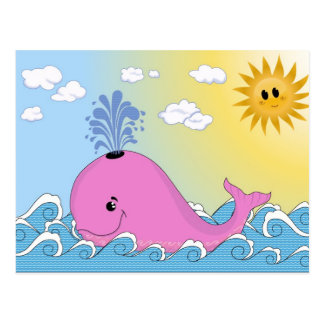 Jonny, the pink whale post card