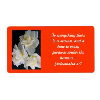Jonquil Flower - Ecclesiastes 3:1 Label