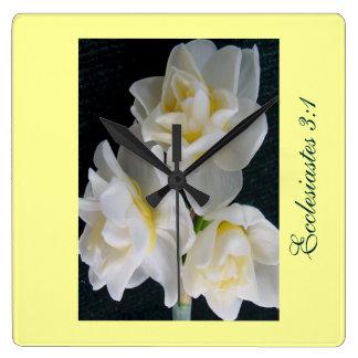 Jonquil Flower - Ecclesiastes 3:1 Wall Clock
