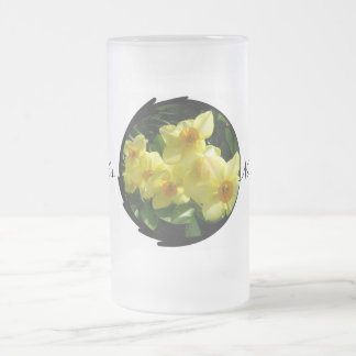 Jonquils/Daffodils/Narcissus Frosted Glass Beer Mug
