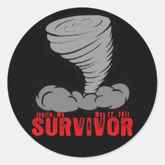 Joplin Missouri Tornado Survivor Classic Round Sticker