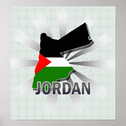 Jordan Flag Map 2.0 Posters