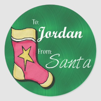 Jordan Personalized Christmas Label74 Classic Round Sticker