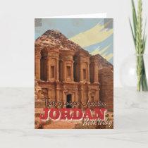 Jordan vacation Vintage Travel Poster. Holiday Card