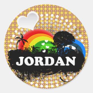 Jordania con sabor a fruta linda pegatina redonda