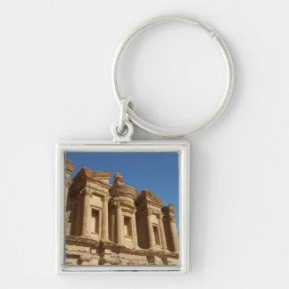 Jordania, Petra, el monasterio, Al Deir. 2 Llavero Cuadrado Plateado