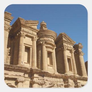 Jordania, Petra, el monasterio, Al Deir. 2 Pegatina Cuadrada