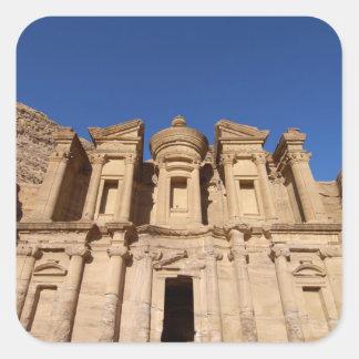 Jordania, Petra, el monasterio, Al Deir. Pegatina Cuadrada