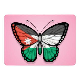 "Jordanian Butterfly Flag on Pink 5"" X 7"" Invitation Card"