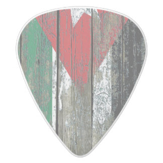Jordanian Flag on Rough Wood Boards Effect White Delrin Guitar Pick