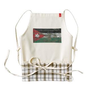 Jordanian Flag on Rough Wood Boards Effect Zazzle HEART Apron