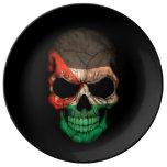 Jordanian Flag Skull on Black Porcelain Plates