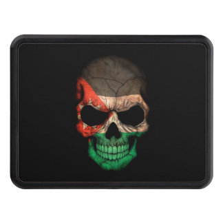 Jordanian Flag Skull on Black Tow Hitch Cover