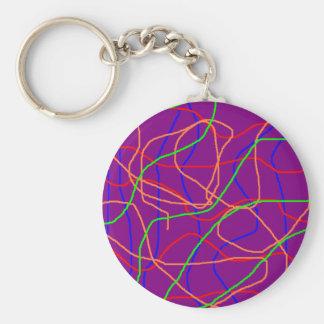 Jordans Purple Yarn Basic Round Button Keychain