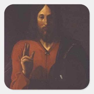 Jorte de la Tour- Cristo Bénissant Pegatina Cuadrada