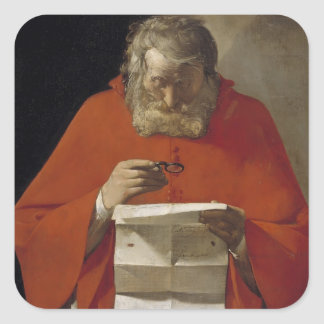 Jorte de la Tour- Saint Jerome que lee una letra Pegatina Cuadrada