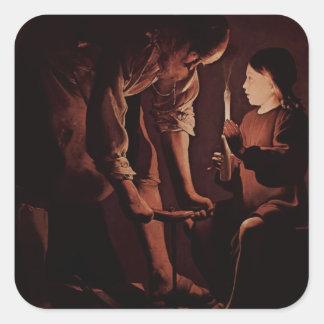 Jorte de la Tour- San José, el carpintero Pegatina Cuadrada
