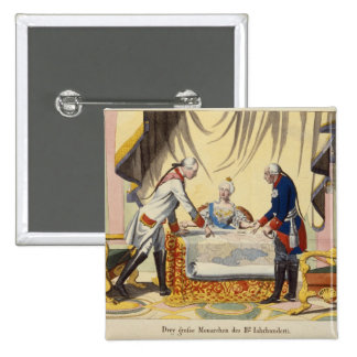 José II, Catherine The Great y Frederick II Pin Cuadrada 5 Cm