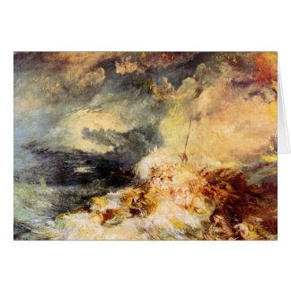 José Mallord Turner - fuego en el mar Tarjeta Pequeña