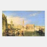 José Mallord Turner - puente de suspiros - Venecia Rectangular Pegatinas