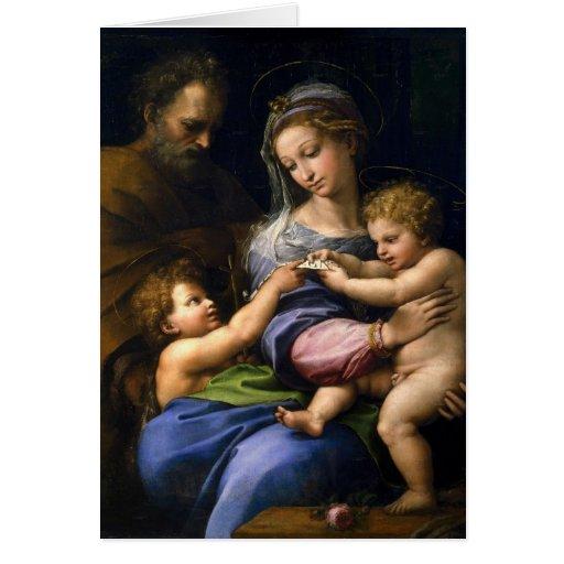 José, Maria, bebé Jesús, y San Juan Bautista Tarjeta Pequeña