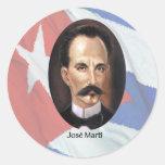 Jose Marti en bandera cubana Pegatina Redonda