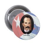 Jose Marti en bandera cubana Pin Redondo De 2 Pulgadas