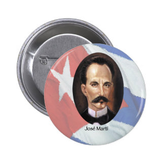 Jose Marti on Cuban Flag Pinback Buttons