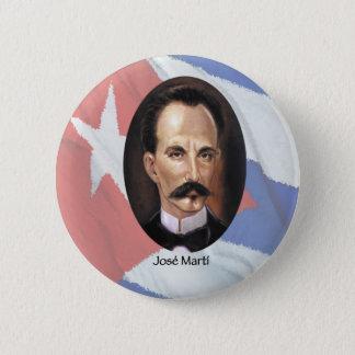 Jose Marti on Cuban Flag Pinback Button
