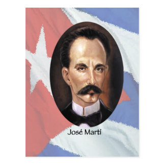 Jose Marti on Cuban Flag Postcard