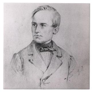 José Mazzini (1805-72) 1830 (carbón de leña) (b/w  Azulejo Cuadrado Grande