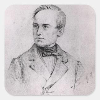 José Mazzini (1805-72) 1830 (carbón de leña) (b/w Calcomanías Cuadradas Personalizadas