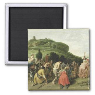 José recibe a su padre en Egipto, 1628 Imán Cuadrado