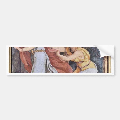 José y la esposa de Potiphar de Veit Philipp Pegatina De Parachoque