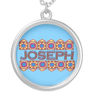 Joseph Abstract art southwestern over light blue Round Pendant Necklace