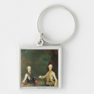 Joseph and Leopold, sons of Francis I and Maria Silver-Colored Square Keychain