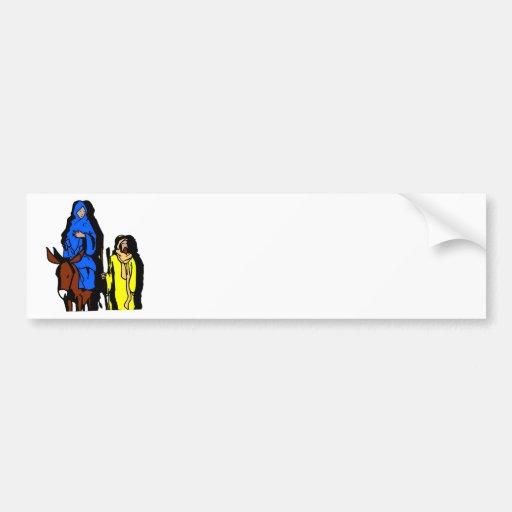 Joseph and Mary Christian artwork Car Bumper Sticker