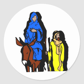 Joseph and Mary Christian artwork Classic Round Sticker
