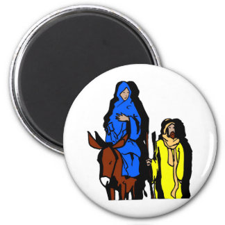 Joseph and Mary Christian artwork 2 Inch Round Magnet