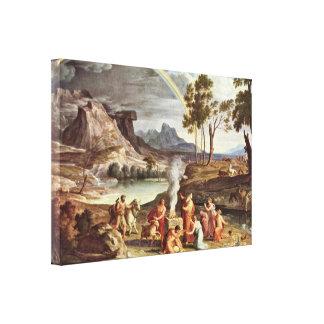 Joseph Anton Koch - The peace offerings of Noah Canvas Print