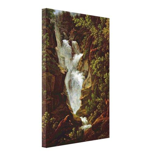Joseph Anton Koch - Waterfall Gallery Wrapped Canvas
