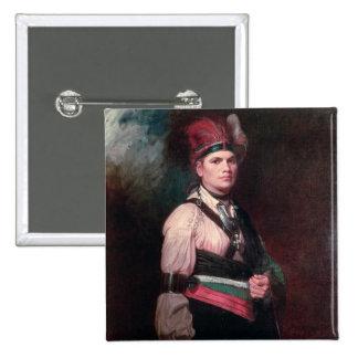 Joseph Brant, jefe de los Mohawks, 1742-1807 Pin Cuadrada 5 Cm
