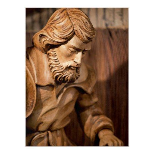 Joseph carved wood 6.5x8.75 paper invitation card