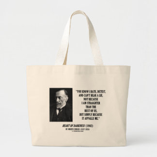 Joseph Conrad Hate Detest Lie Appalls Me Quote Large Tote Bag
