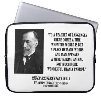 Joseph Conrad Teacher Of Languages Parrot Quote Laptop Sleeve